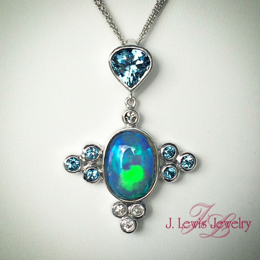 Custom australian opal pendant j lewis jewelry custom for Jewelry stores boulder co