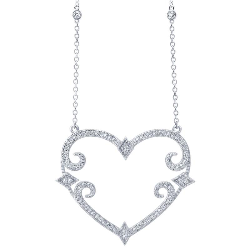 Lafonn Scroll Heart Pendant J Lewis Jewelry Custom and