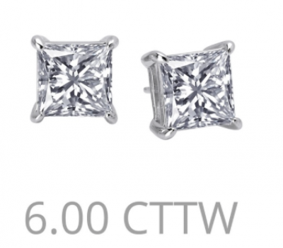 6 carat princess cut studs