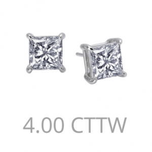4 Carat princess cut earrings