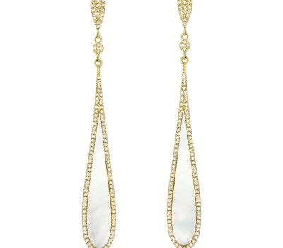 Mother of Pearl Teardrop Diamond Earrings