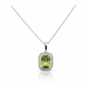 Peridot and diamond pendant