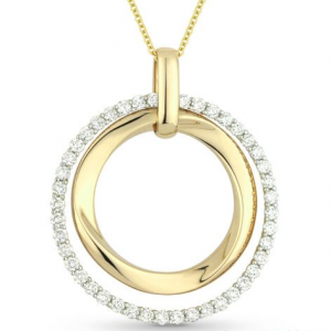 Bold Yellow Gold and Diamond Pendant