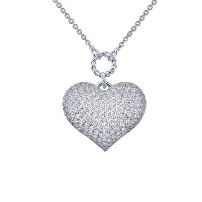 Lafonn Pave Puffy Heart Necklace